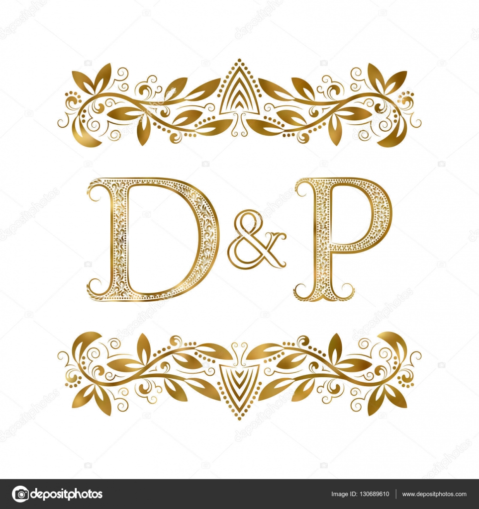 D And P Vintage Initials Logo Symbol The Letters Are Surrounded By