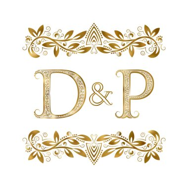 D and P vintage initials logo symbol. The letters are surrounded by ornamental elements.