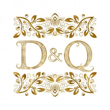 D and Q vintage initials logo symbol. The letters are surrounded by ornamental elements.