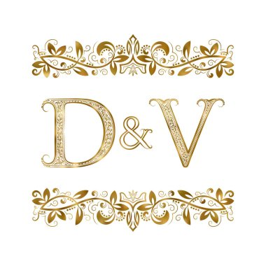 D and V vintage initials logo symbol. The letters are surrounded by ornamental elements.