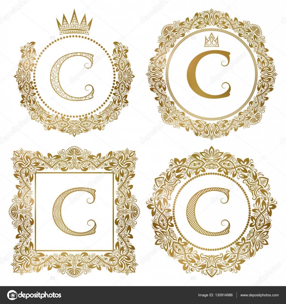 Goldenen Buchstaben C Vintage Monogramme festgelegt. Heraldische ...