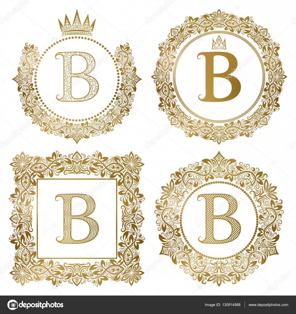 Golden letter b vintage monograms set heraldic coats of arms round