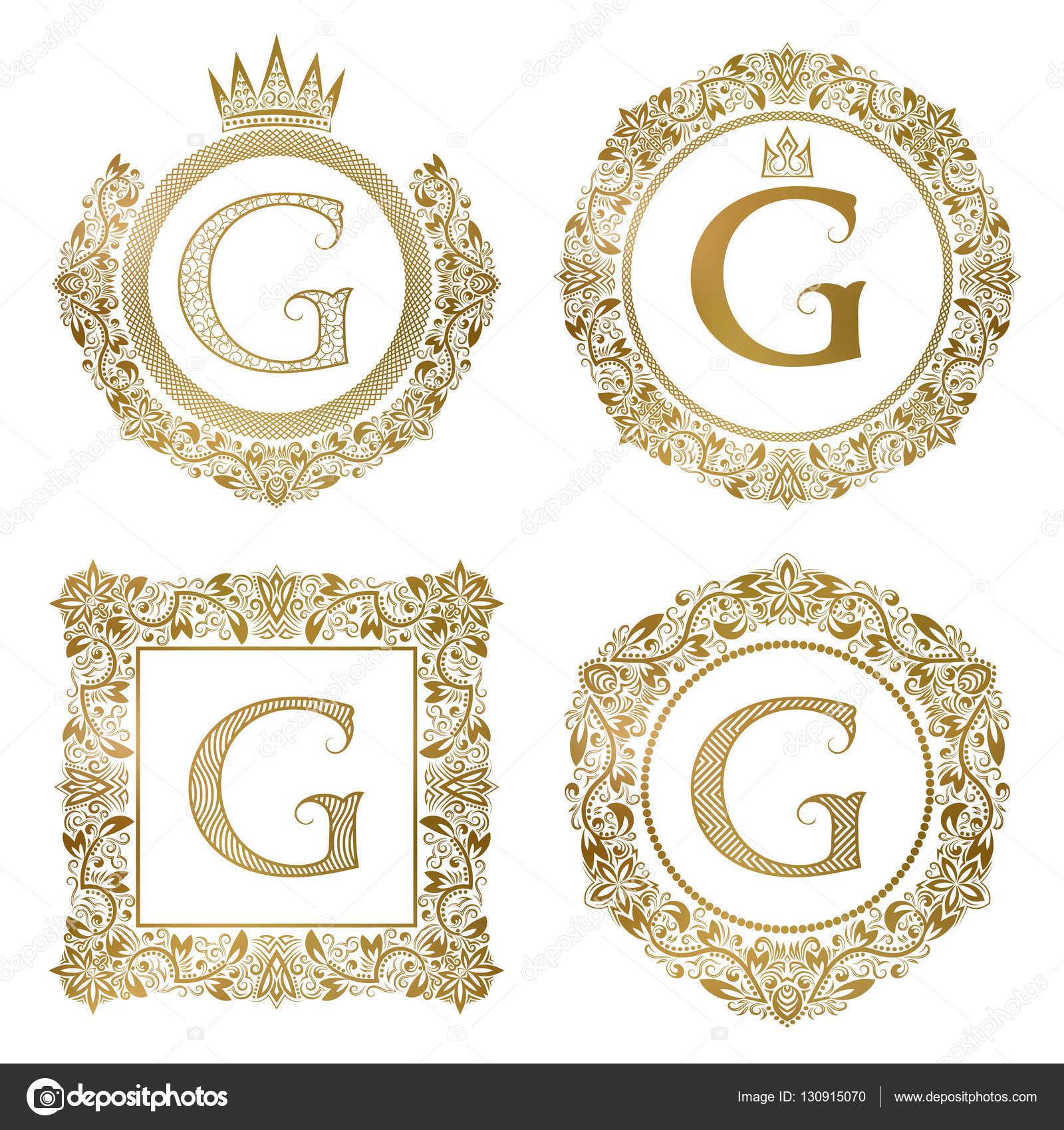 Goldenen Buchstaben G Vintage Monogramme festgelegt. Heraldische ...