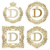 Fotografia Monogrammi dellannata di lettera dorata D impostare. Stemmi araldici, cornici rotonde e quadrate