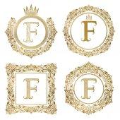 Fotografia Monogrammi dellannata di lettera dorata F impostato. Stemmi araldici, cornici rotonde e quadrate