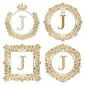 Fotografia Monogrammi dellannata di lettera dorata J impostato. Stemmi araldici, cornici rotonde e quadrate