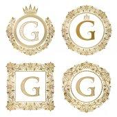 Fotografia Monogrammi dellannata di lettera dorata G impostato. Stemmi araldici, cornici rotonde e quadrate