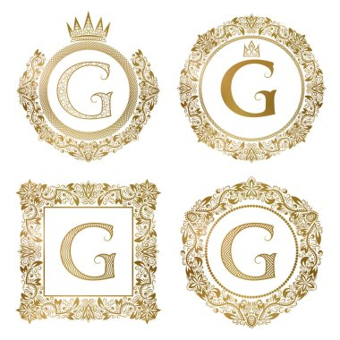 Golden letter G vintage monograms set. Heraldic coats of arms, round and square frames.