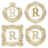 Fotografia Monogrammi dellannata di lettera dorata R impostare. Stemmi araldici, cornici rotonde e quadrate