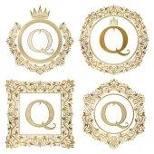 Sada zlaté písmeno Q vintage monogramy. Rodové erby, kulaté a čtvercové rámce