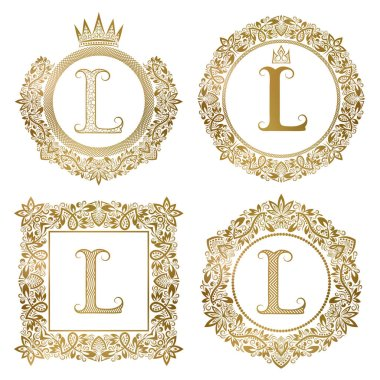 Golden letter L vintage monograms set. Heraldic coats of arms, round and square frames.
