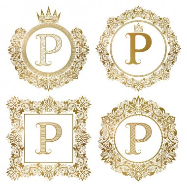 Golden letter P vintage monograms set. Heraldic coats of arms, round and square frames.