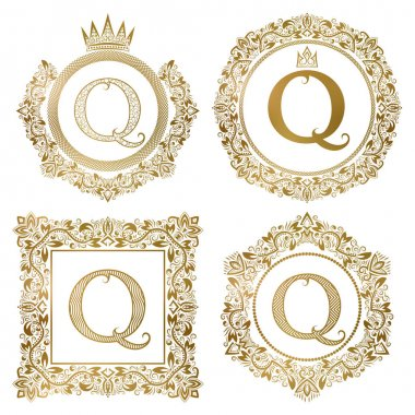 Golden letter Q vintage monograms set. Heraldic coats of arms, round and square frames.