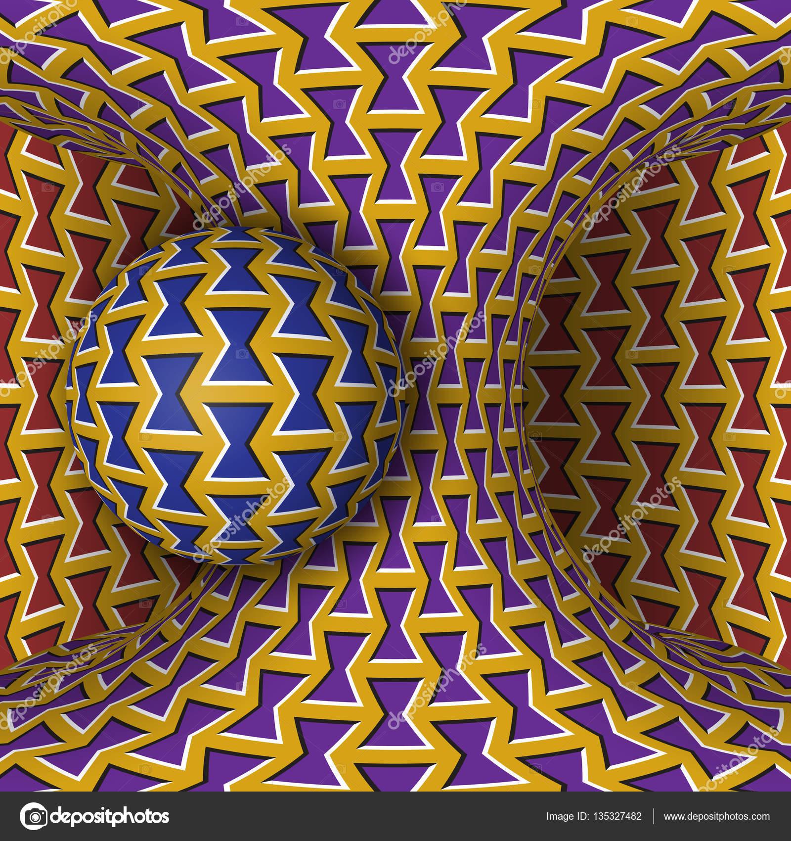 Optische Bewegung Illusion Abbildung Eine Kugel Sind