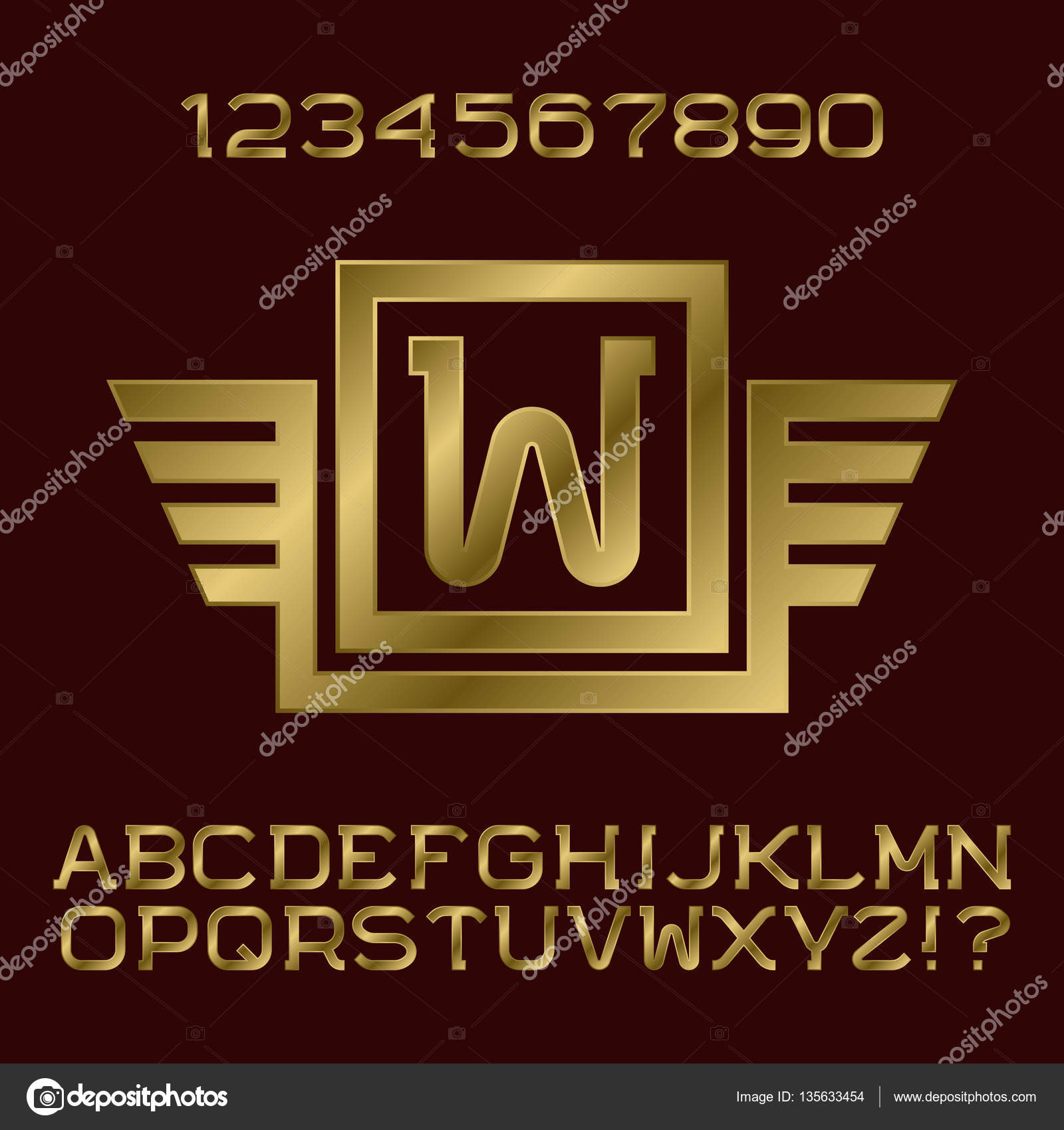 Golden gradient letters and numbers with initial monogram in winged ...