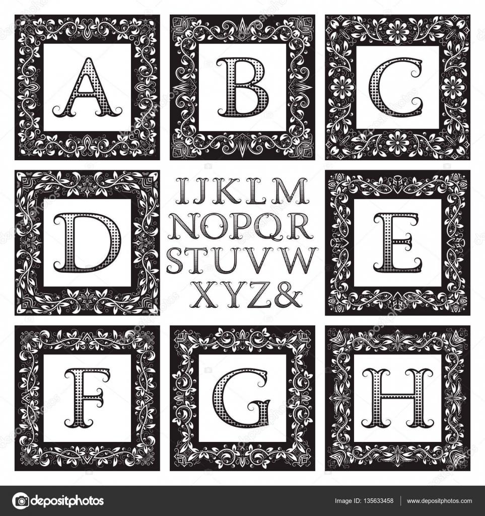 Kit de monogram vintage. Negro con estampado florales Marcos ...