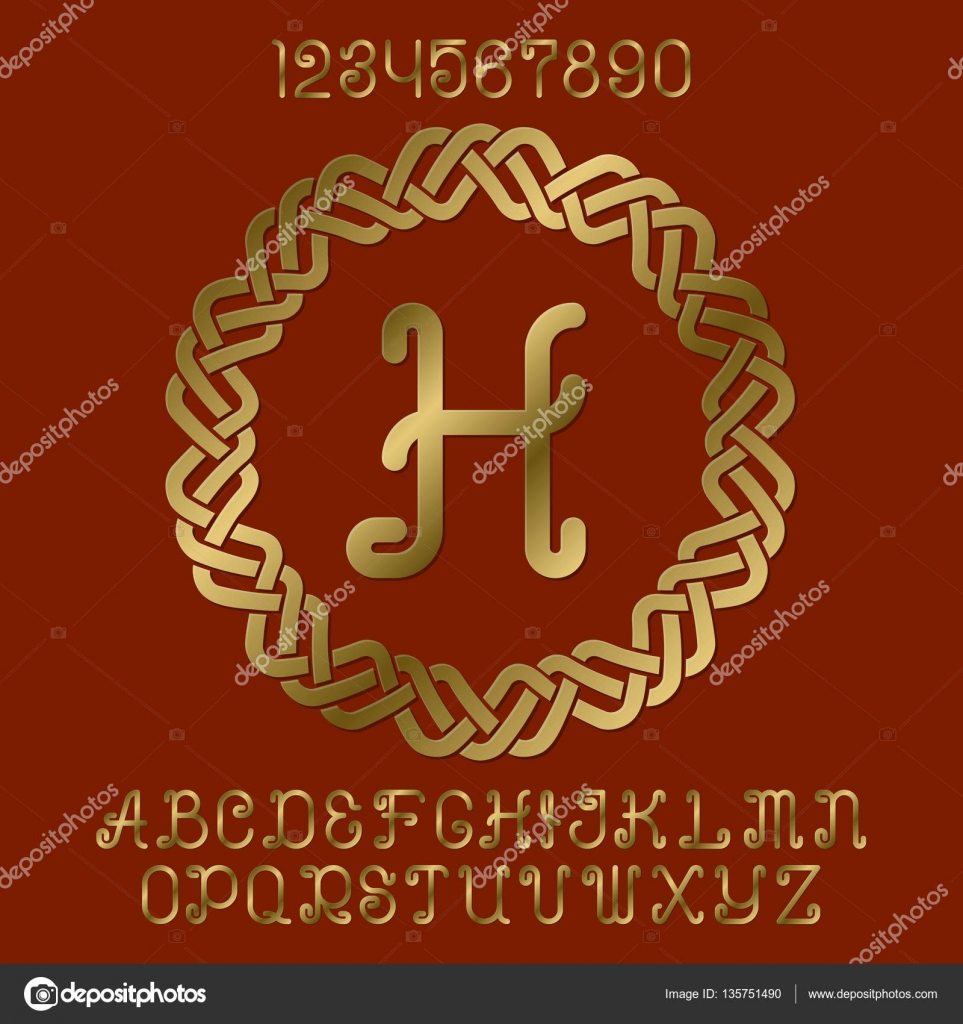 Beautiful golden curly letters and numbers with initial monogram in ...