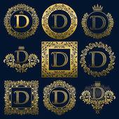 Fotografia Monogrammi dellannata set di lettera D. Logo dorati araldici in corone, cornici rotonde e quadrate