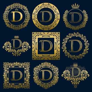 Vintage monograms set of D letter. Golden heraldic logos in wreaths, round and square frames.