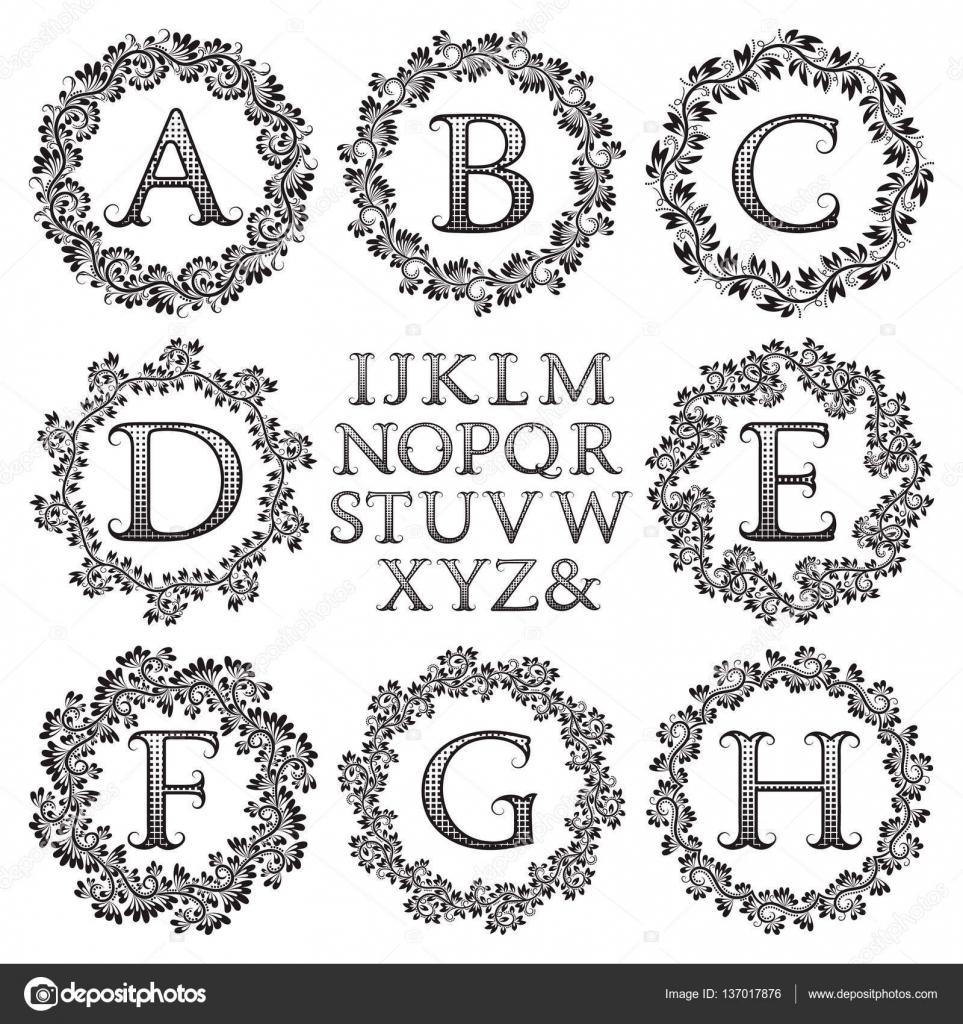 Vintage Monogramm Kit. Schwarz gemustert, Briefe und Blumen runden ...