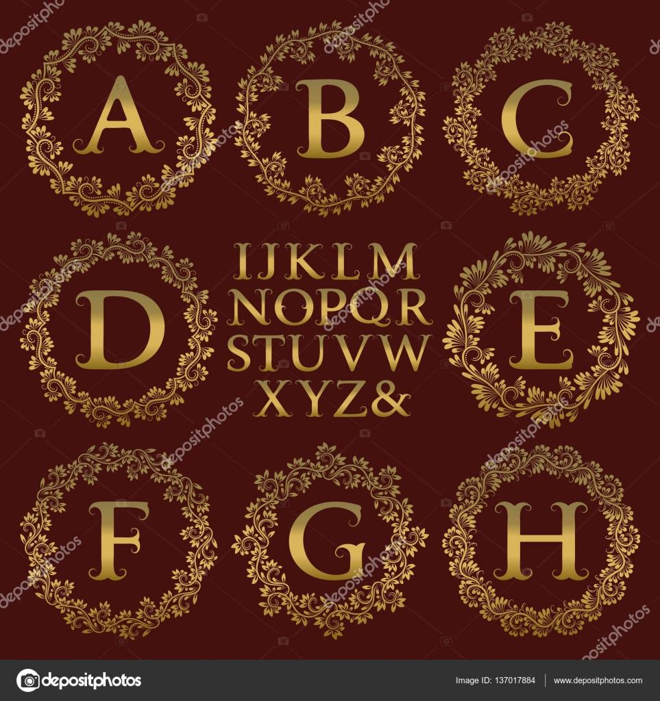 Vintage monogram kit. Golden letters and floral round frames for ...
