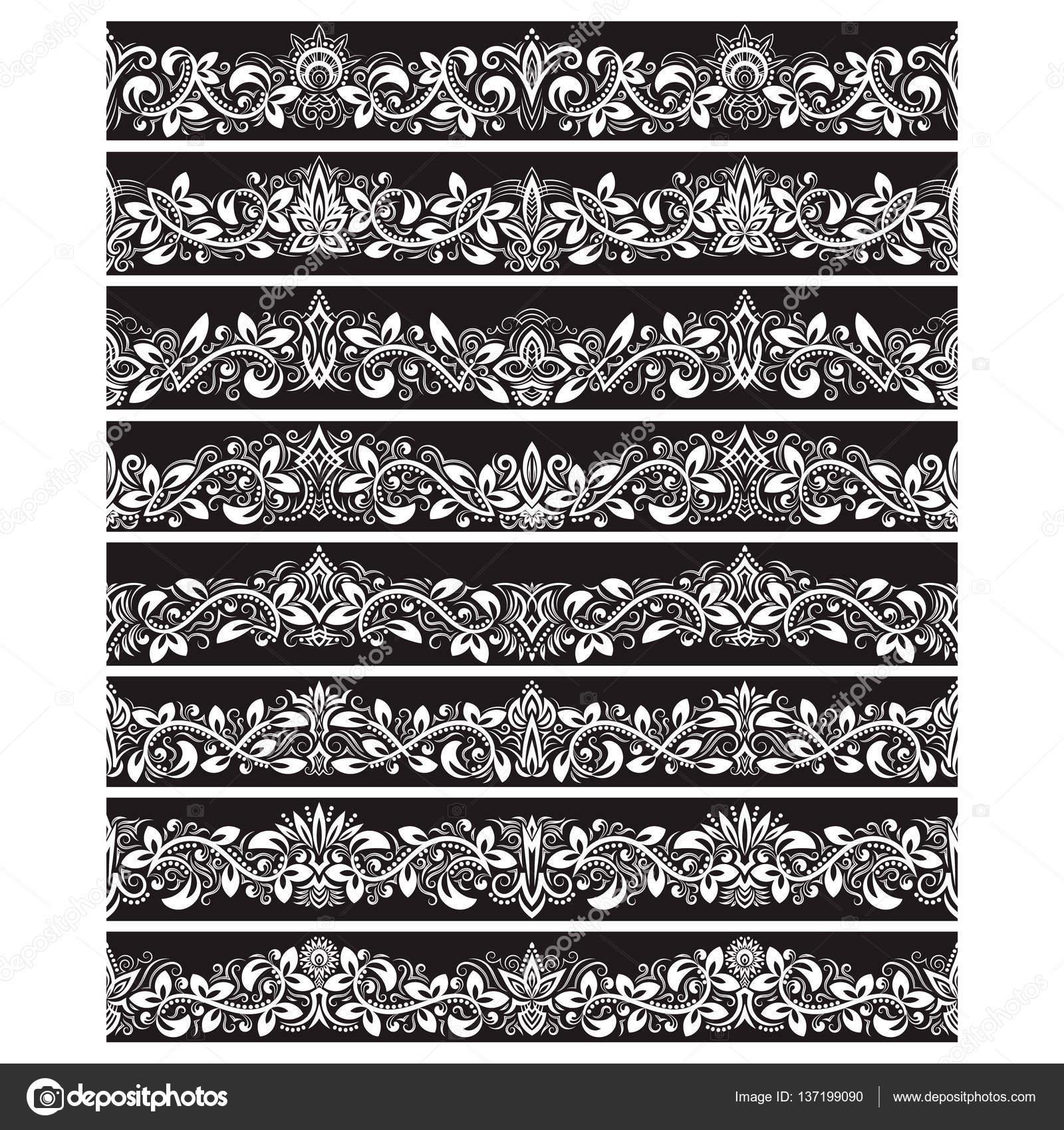 Schwarz weiße Vintage-Elemente für Vektor-Pinsel erstellen. Grenzen ...