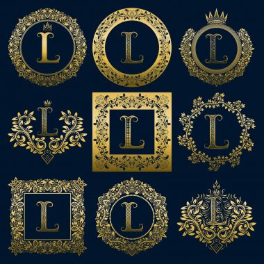 Vintage monograms set of L letter. Golden heraldic logos in wreaths, round and square frames.