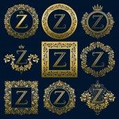 Fotografia Set di monogrammi dellannata della lettera Z. Logo dorati araldici in corone, cornici rotonde e quadrate