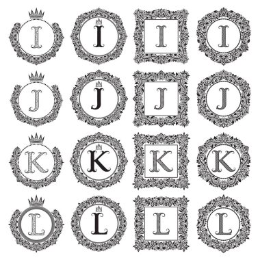 Vintage monograms set of I, J, K, L letter. Heraldic coats of arms in wreaths, round and square frames. Black symbols on white.