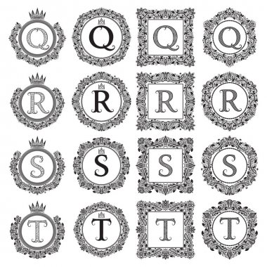 Vintage monograms set of Q, R, S, T letter. Heraldic coats of arms in wreaths, round and square frames. Black symbols on white.