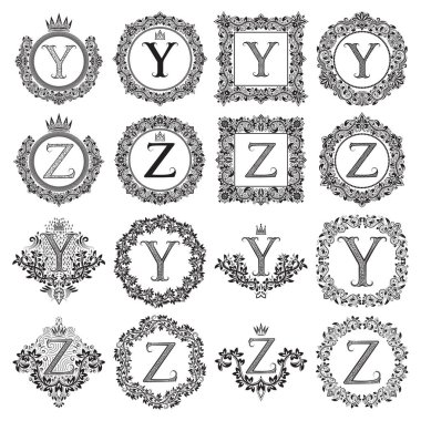 Vintage monograms set of Y, Z letter. Heraldic coats of arms in wreaths, round and square frames. Black symbols on white.