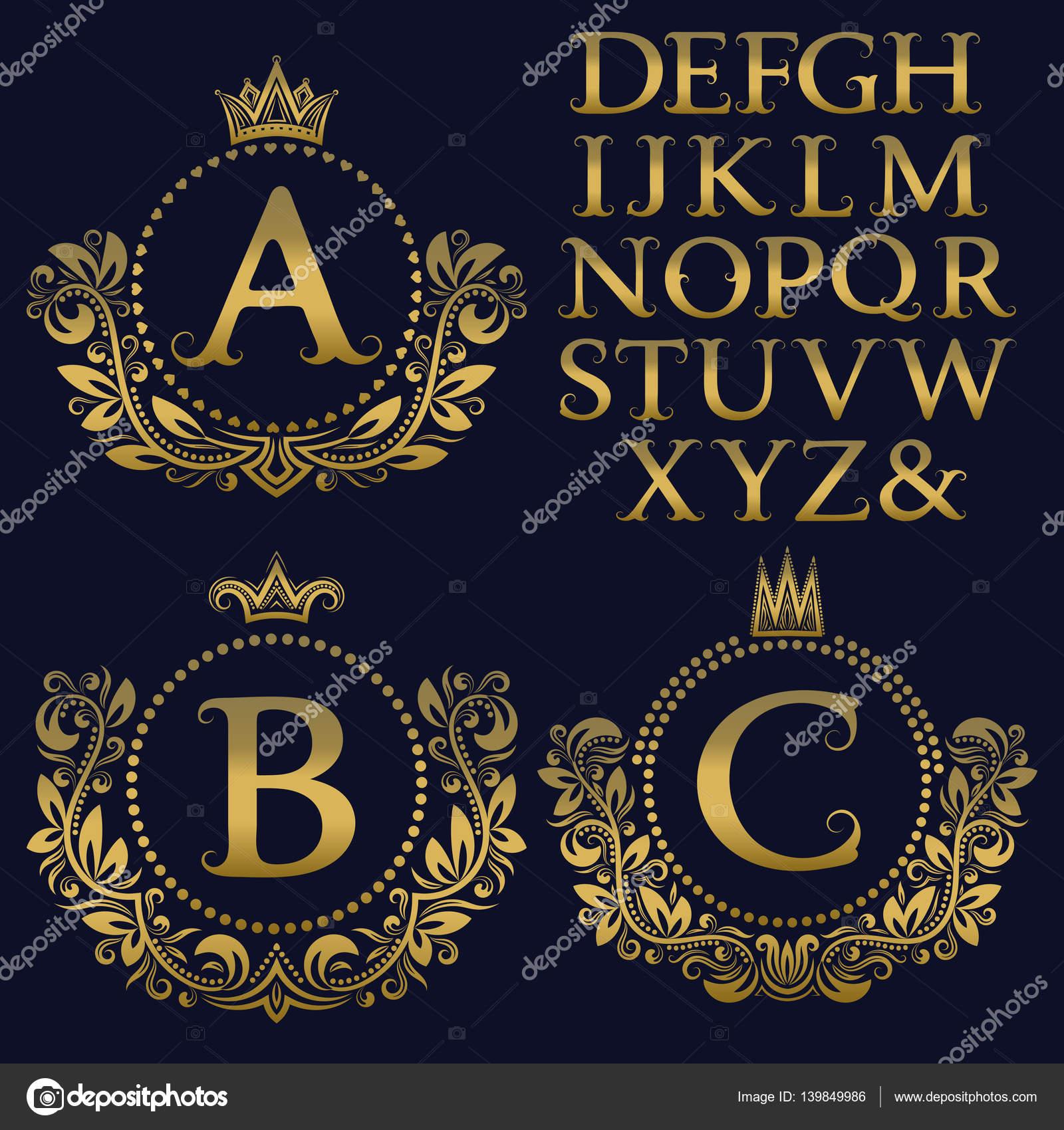 Kit de monogram vintage. Letras de oro y escudo floral marcos para ...