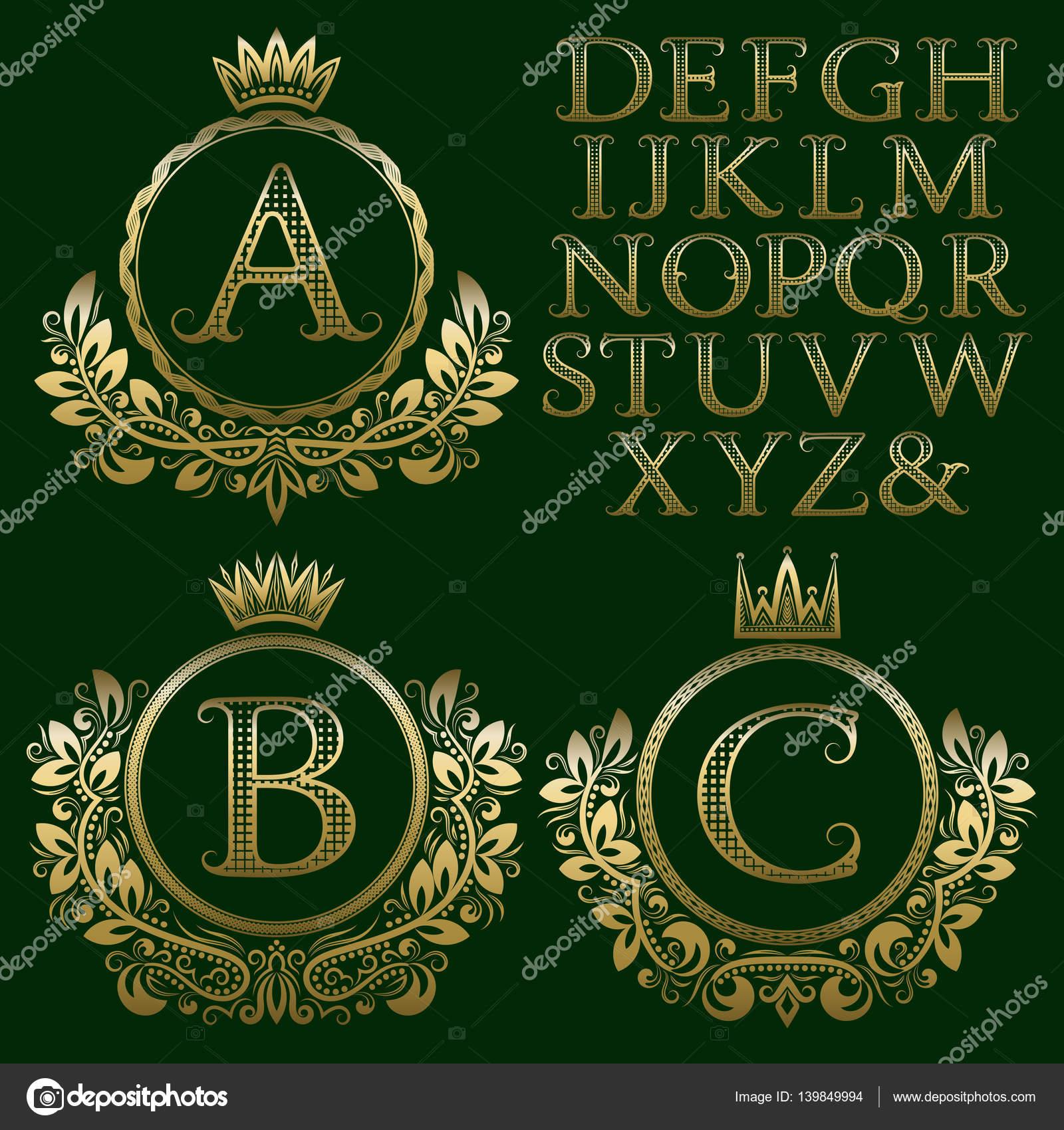 Vintage monogram kit. Golden patterned letters and floral coat of ...