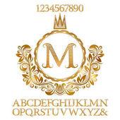 Arany csíkos betűk és számok, a kezdeti monogram címer formában. Ragyogó betűtípus és elemek készlet logo tervezés.