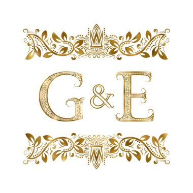 G and E vintage initials logo symbol. The letters are surrounded by ornamental elements. Wedding or business partners monogram in royal style.