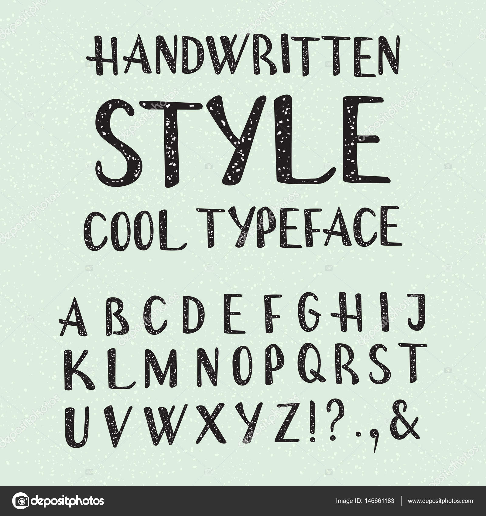 Handwritten Style Cool Typeface Isolated English Alphabet Of Grainy Texture Fashion Font