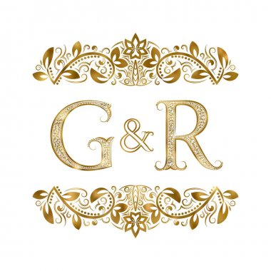 G and R vintage initials logo symbol. The letters are surrounded by ornamental elements. Wedding or business partners monogram in royal style.