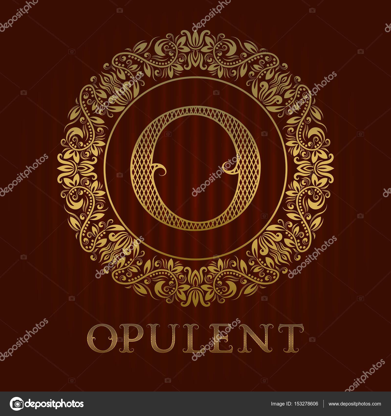 Goldene Logo Vorlage für opulenten Boutique. Vektor-Monogramm ...