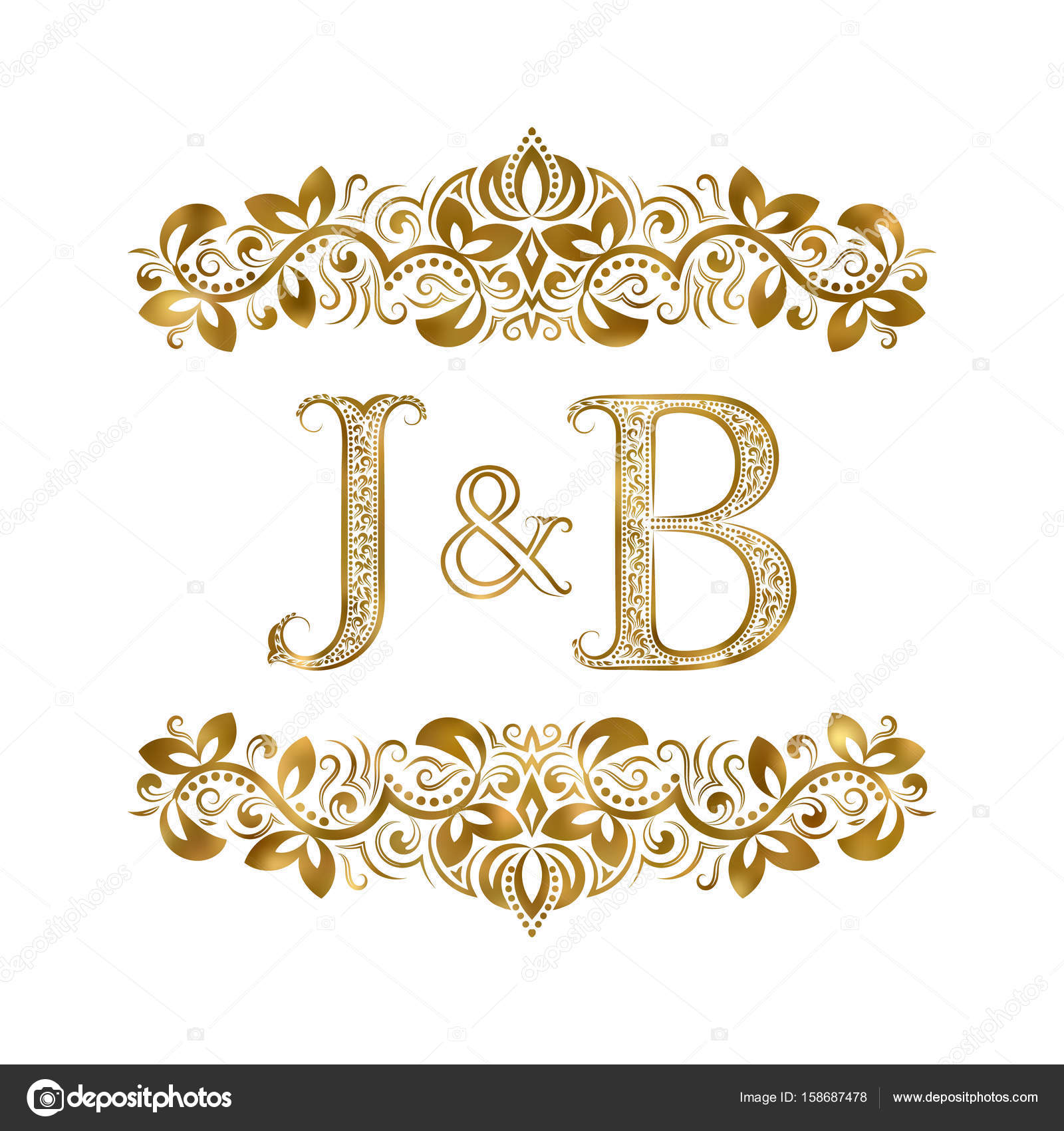 j and b vintage initials logo symbol the letters are surrounded by ornamental elements wedding or business partners monogram in royal style