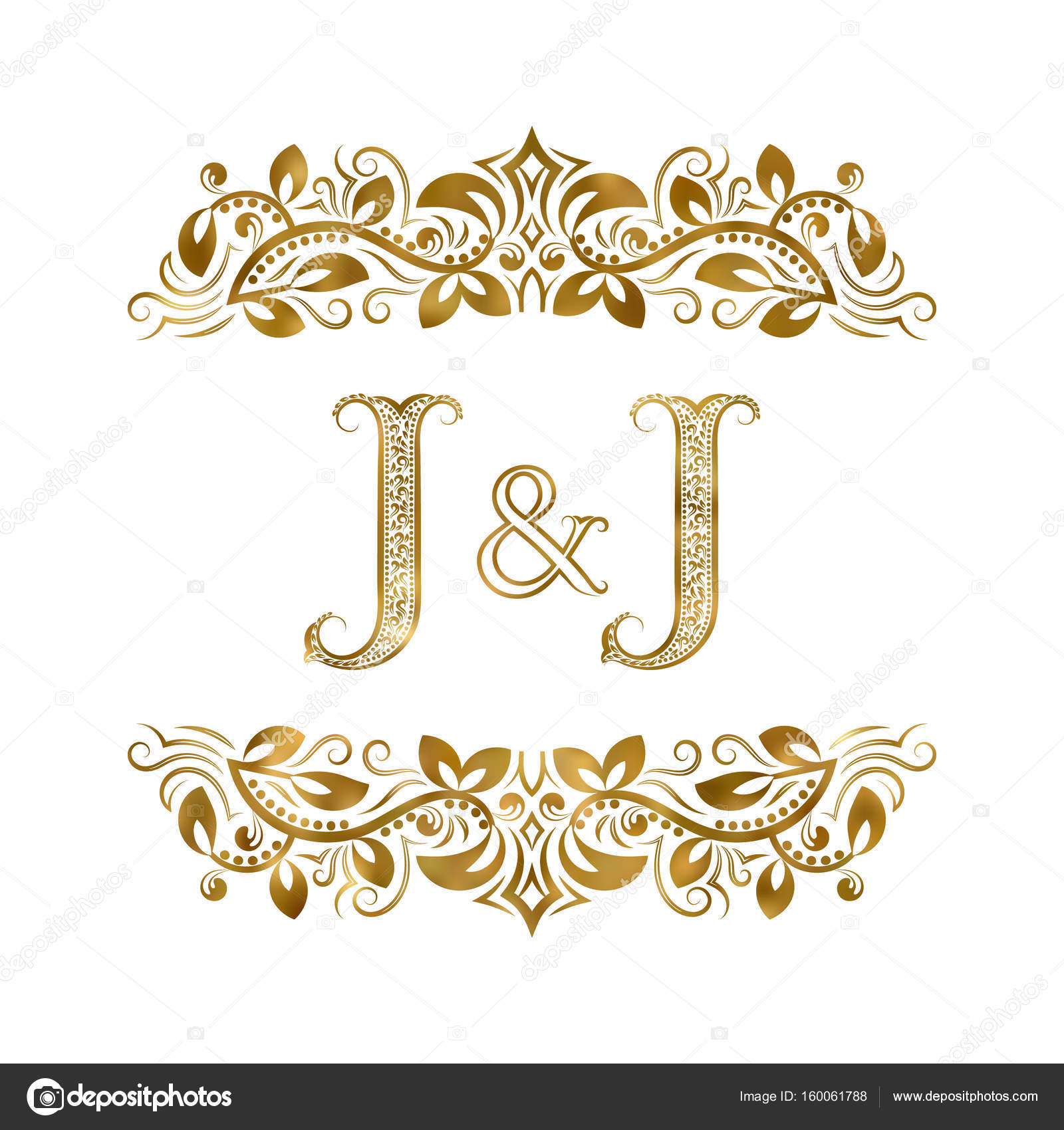 J And J >> J And J Vintage Initials Logo Symbol The Letters Are