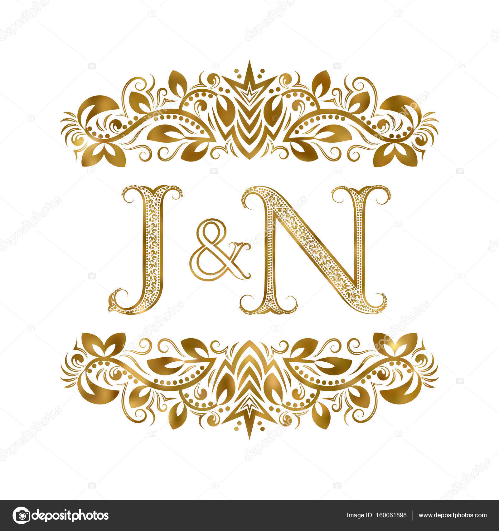 J And N Vintage Initials Logo Symbol The Letters Are Surrounded By