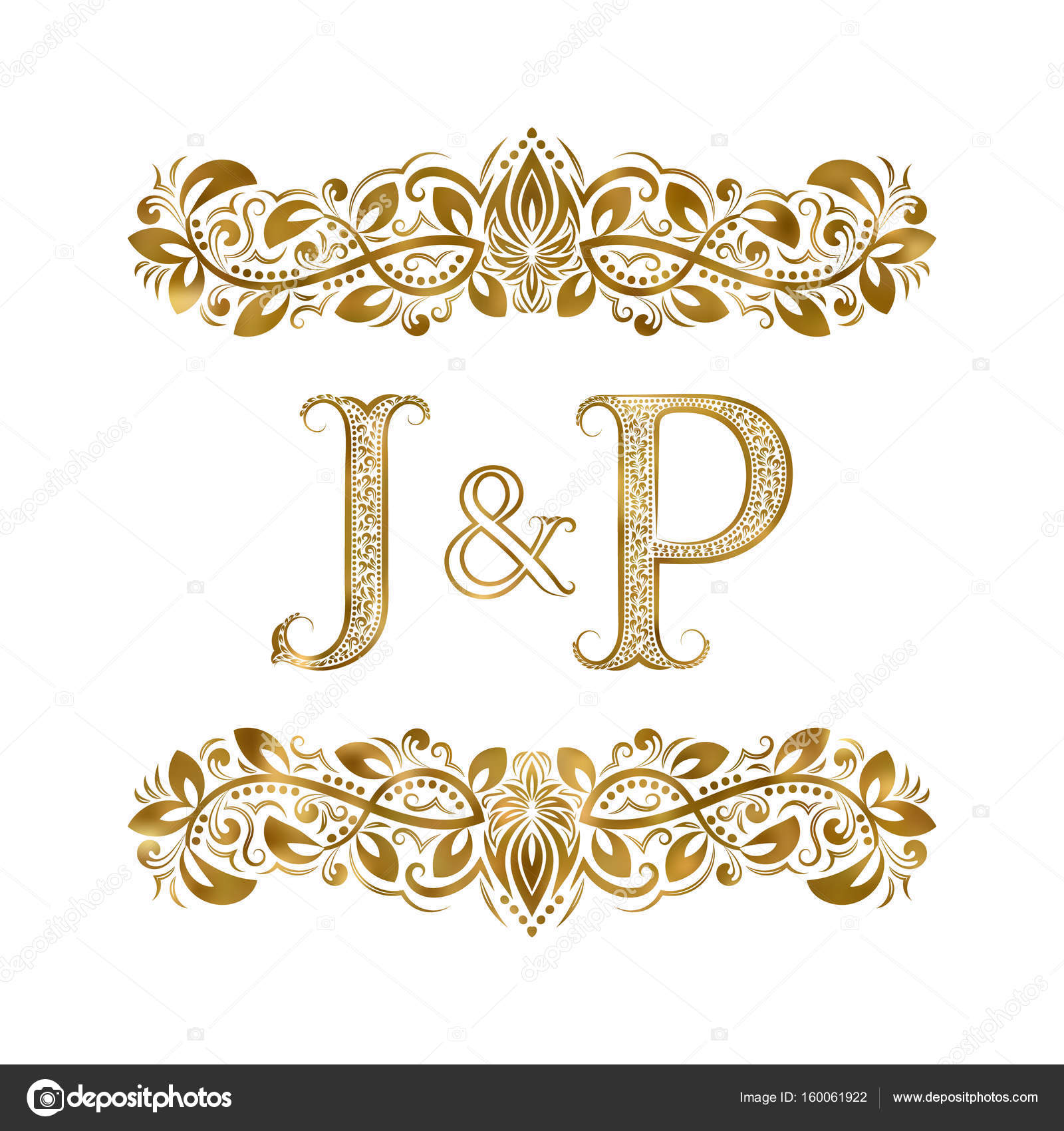 J And P Vintage Initials Logo Symbol The Letters Are Surrounded By
