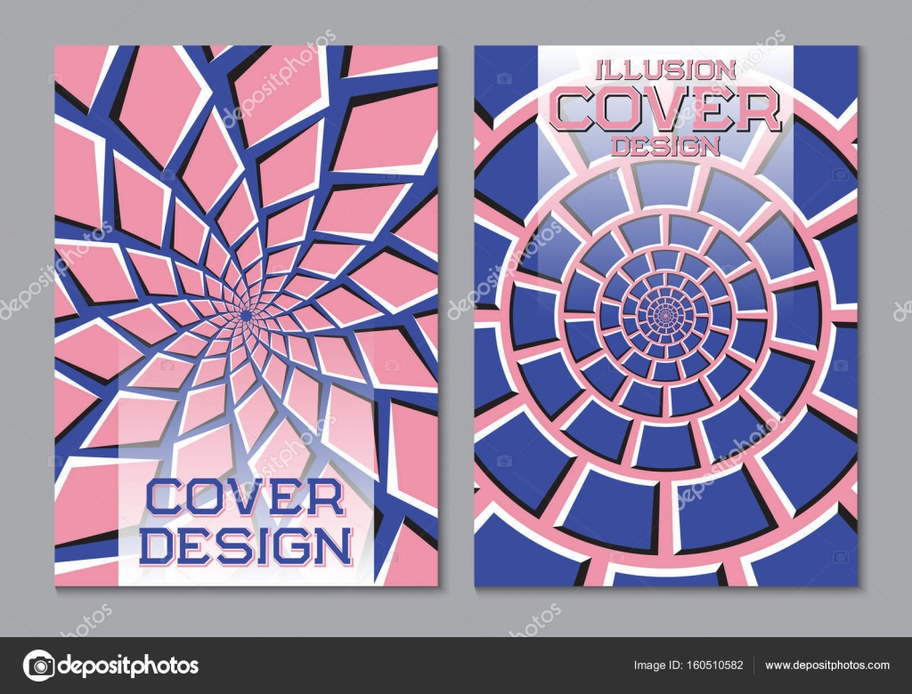 Book color scheme - Blue Pink Color Scheme Book Cover Design Template With Optical Motion Illusion Elements Stock
