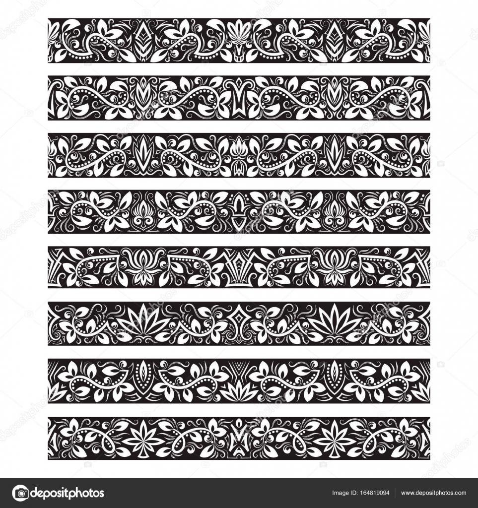 Black white vintage elements for vector brushes creating