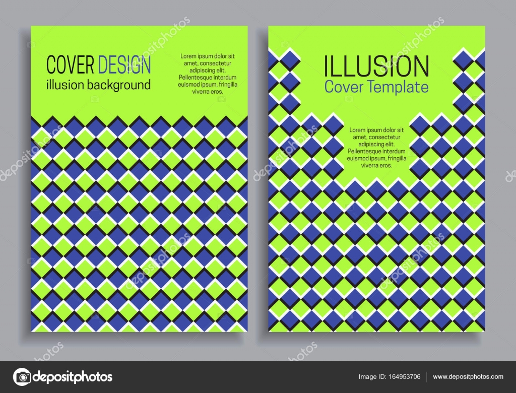 Blue Green Book Cover Templates With Optical Motion Illusion Design