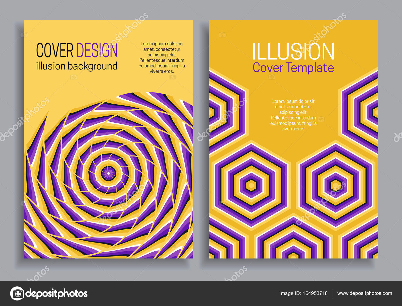 Purple yellow book cover templates with optical motion illusion ...