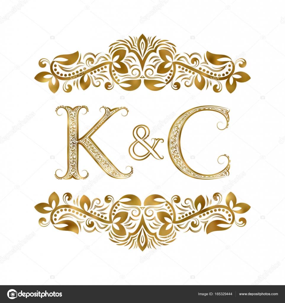 K y C vintage iniciales del logosímbolo. Las letras están rodeadas ...