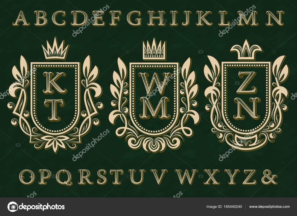 Kit Vintage logos inicial. Marcos de escudo, Letras con dibujos ...
