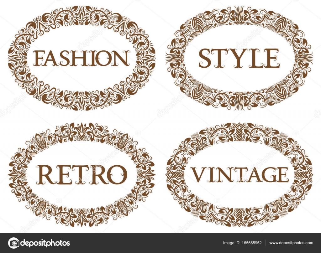 Marcos ovalados vintage con diversas inscripciones. Moda, vintage ...