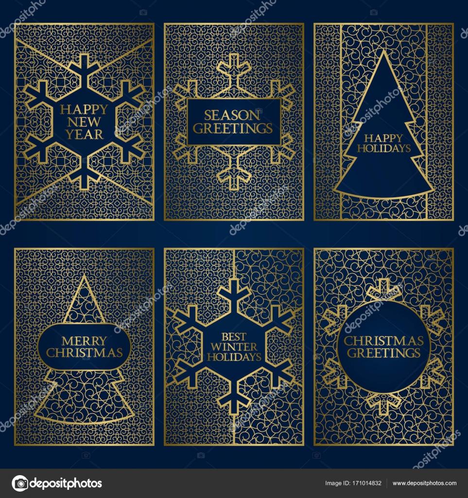 Set Of Winter Season Greeting Cards Templates Golden Frames Design